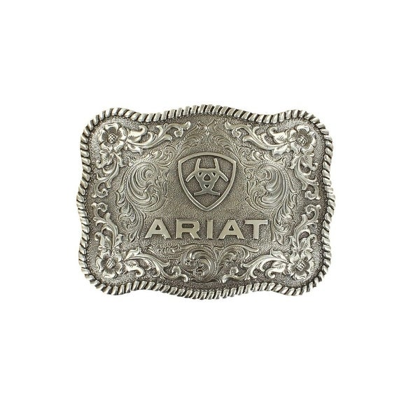 Ariat Western Buckle Rope Rectangle Floral Shield Logo Silver - 3 3/4 x 2 3/4