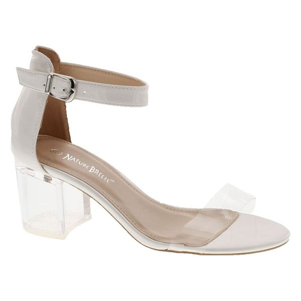 Nature Breeze See Thru-01 Women's Lucite Chunky Heel Ankle Strap Dress Sandals