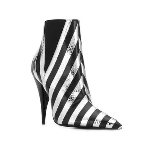 Saint Laurent Women's Leather Kiki 85 Snakeskin Effect Striped Boots Black