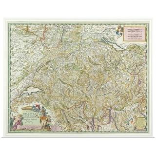"""Antique map of Switzerland"" Poster Print"