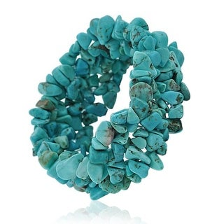 Bling Jewelry Reconstituted Turquoise Gemstone Chips Chunky Stretch Bracelet - Blue
