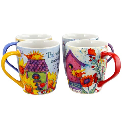Gibson Birdhouse Floral 18 oz Cup, 4 Assorted Designs