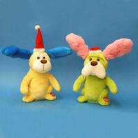 Set of 2 Battery Operated Animated Musical Puppy Figures - multi
