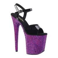 Pleaser Women's Flamingo 809LG Platform Sandal Black Patent/Purple Multi Glitter
