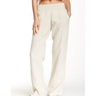 Allen Allen Beige Flax Women's Size Medium M Wide Leg Linen Pants