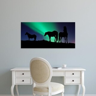 Easy Art Prints Panoramic Images's 'Silhouette of horses at dusk, Iceland' Premium Canvas Art