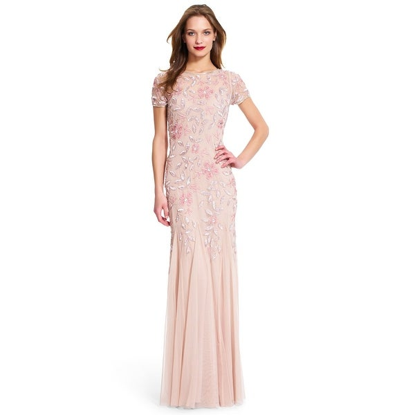 a6f52a1198c5 Shop Adrianna Papell Floral Beaded Godet Gown with Short Sleeves ...