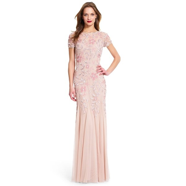 45fb1100878e6 Shop Adrianna Papell Floral Beaded Godet Gown with Short Sleeves, Blush, 16  - Free Shipping Today - Overstock - 24121120