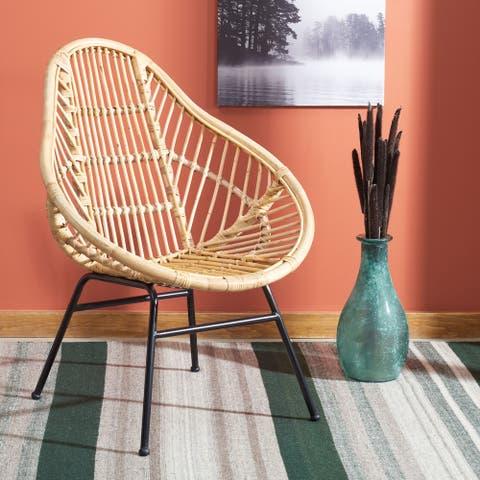 """SAFAVIEH Elisa Coastal Rattan Accent Chair - 29.9"""" W x 28.5"""" L x 37"""" H"""