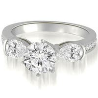 1.75 cttw. 14K White Gold Three-Stone Round And Pear Diamond Engagement Ring