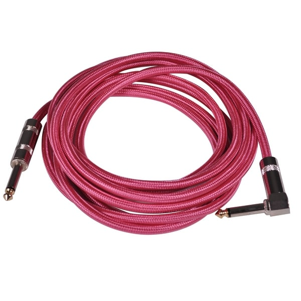 Seismic Audio - 12 Foot Pink Woven Cloth Guitar Cable - Instrument Cable 12'