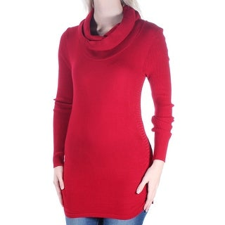 Womens Red Long Sleeve Cowl Neck Tunic Top Size S