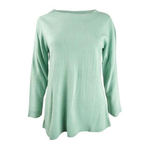 Karen Scott Women's Bateau-Neck Long-Sleeve Sweater - M
