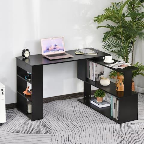 Porch & Den Arbordale Black Finish L-shaped Rotating Computer Desk with Bookshelves