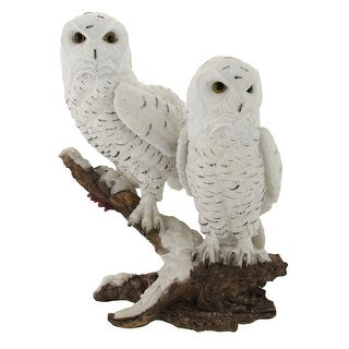Pair of Snow Owls on a Branch Statue - White