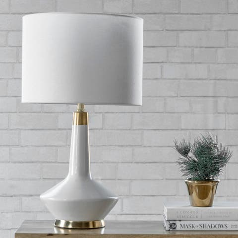 """nuLOOM Helena 25"""" Contemporary White & Gold Ceramic Table Lamp - 14""""W x 14""""D x 24.5""""H"""