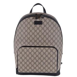 Gucci Beige Black GG Guccissima Supreme Canvas Backpack Rucksack Bag - Beige/Brown