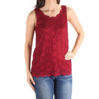 TAHARI $59 Womens New 1393 Red Floral Lace Jewel Neck Sleeveless Top S B+B