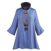 Women's Royal Blue Tunic Top - Button Front 3/4 Sleeves Wired Collar