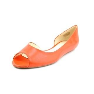 Nine West Bachloret Women Peep-Toe Leather Orange Flats