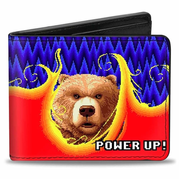 Sega Genesis Altered Beast Pixelated Bear Power Up! Flames Blues Yellow Red Bi-Fold Wallet - One Size Fits most
