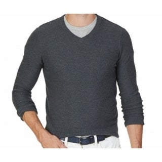 Nautica NEW Gray Charcoal Heather Mens Size Large L V-Neck Sweater