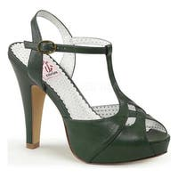 Pin Up Couture Women's Bettie 23 T Strap Sandal Forest Green Faux Leather