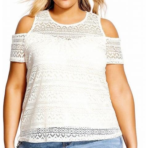 City Chic Womens Top White Size 20W Plus Crochet Illusion Cold-Shoulder