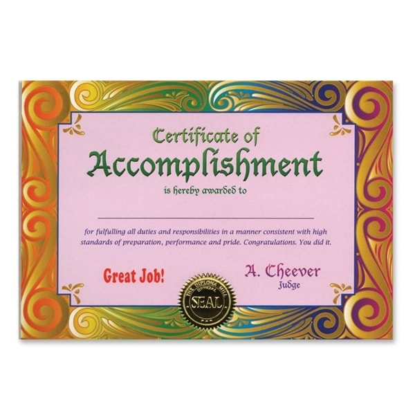 pack of 6 certificate of accomplishment certificates 5 x 7