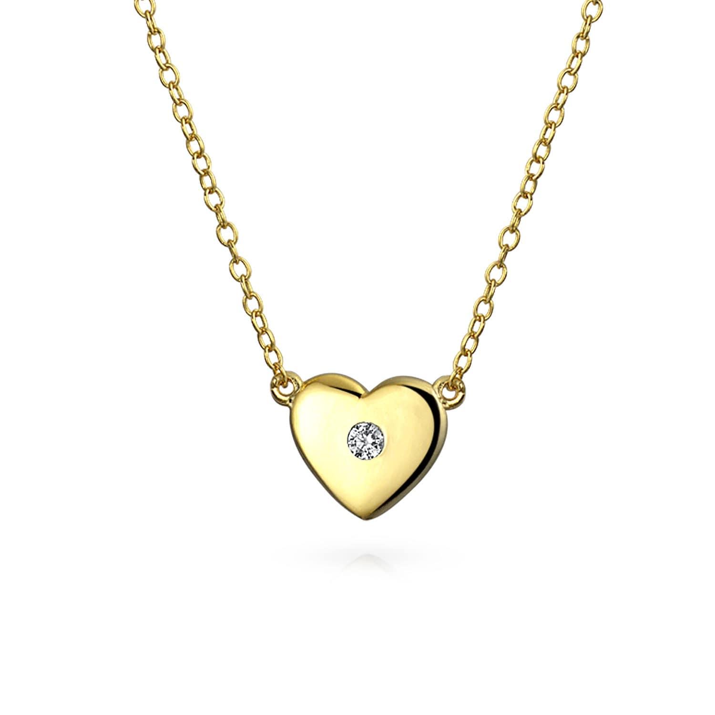 14K Solid White Gold Open Heart CZ Pendant For Girls Women Heart CZ Pendant