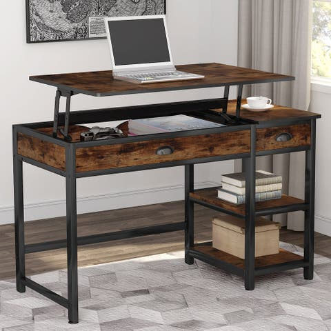 "47"" Lift Top Computer Desk with Drawers, Height Adjustable"