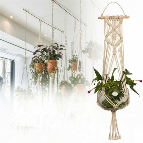 Handmade Elegant Plant Hanger Net Flowerpot Plant Holder Hanging Knotted Lifting Rope Garden Home Garden Decor(No Plants)