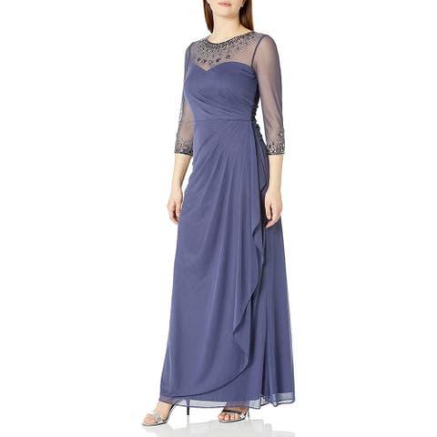 Alex Evenings Women's Long A-Line Sweetheart Neck Dress, Violet, 6P