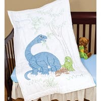 """Stamped White Quilt Crib Top 40""""X60""""-Dinosaurs"""