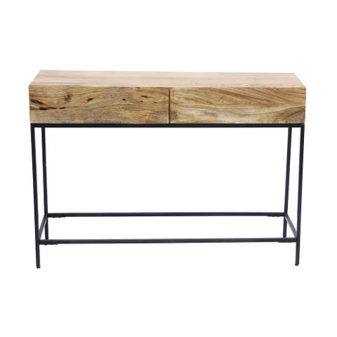 Mango Wood and Metal Console Table With Two Drawers, Brown