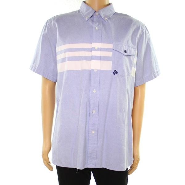 5dabaf1e1e Shop Polo Ralph Lauren Blue White Mens Size 2XL Stripe Button Down Shirt - Free  Shipping Today - Overstock - 28305076