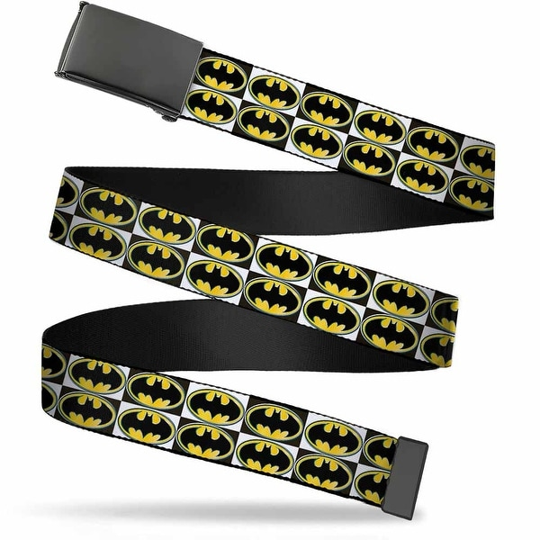 Blank Black Buckle Batman Shield Checkers Webbing Web Belt