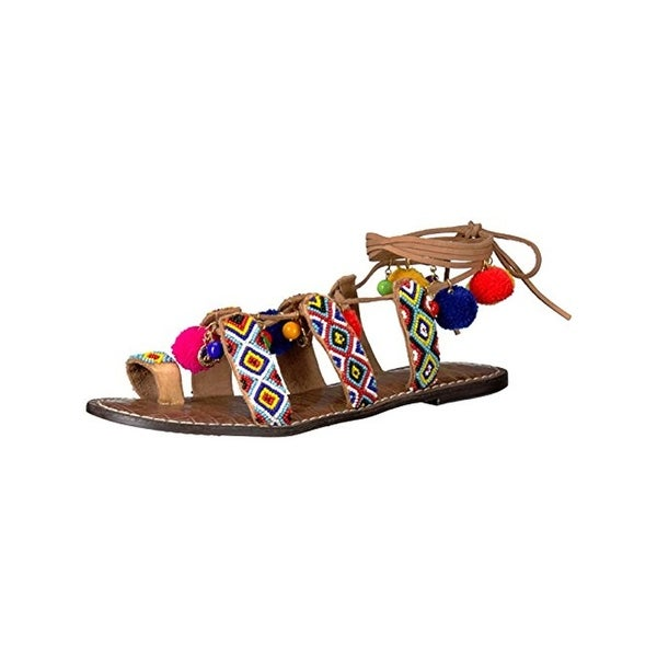 Sam Edelman Womens Flat Sandals Ghillie Embellished - 6.5 medium (b,m)