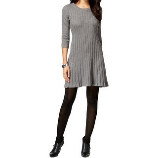NY Collection Womens Petites Sweaterdress Cable Knit 3/4 Sleeves