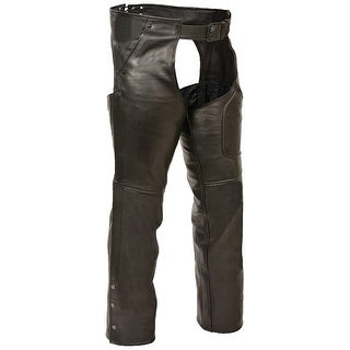 Ladies Premium Black Buffalo Leather 3 Pocket Chaps (More options available)