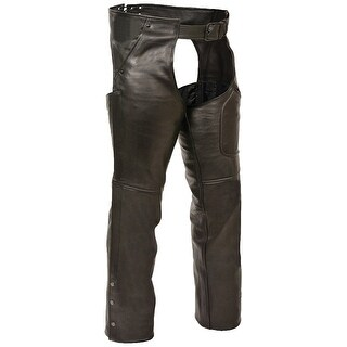 Ladies Premium Black Buffalo Leather 3 Pocket Chaps