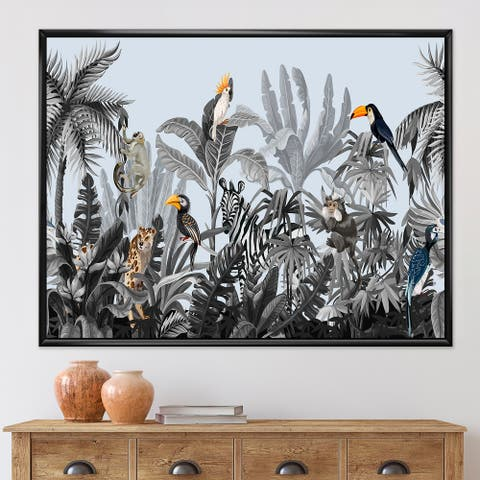 Designart 'Chinoiserie With Birds and Peonies VIII' Farmhouse Framed Canvas Wall Art Print