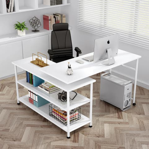 L-Shaped Computer Desk with Shelves 360° Rotating Desk Study Writing Table