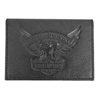 "Harley-Davidson Men's Eagle Embossed Leather Guesseted Card Case EE9089L-BLK - 4.25"" x 3"" x 0.5"""