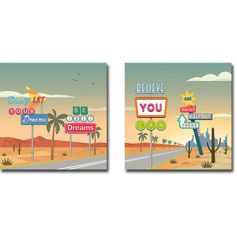 Believe You Can I & II by Steven Hill 2-pc Gallery Wrapped Canvas Giclee Set (18 in x 18 in Each Canvas in Set)