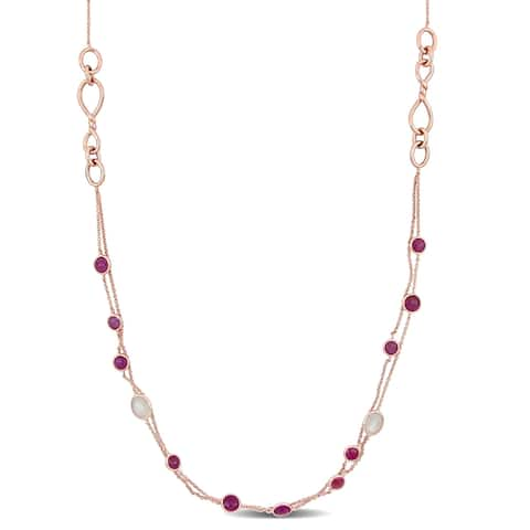Miadora 18k Rose Gold Pink Tourmaline and Moonstone Dual Strand Station Necklace