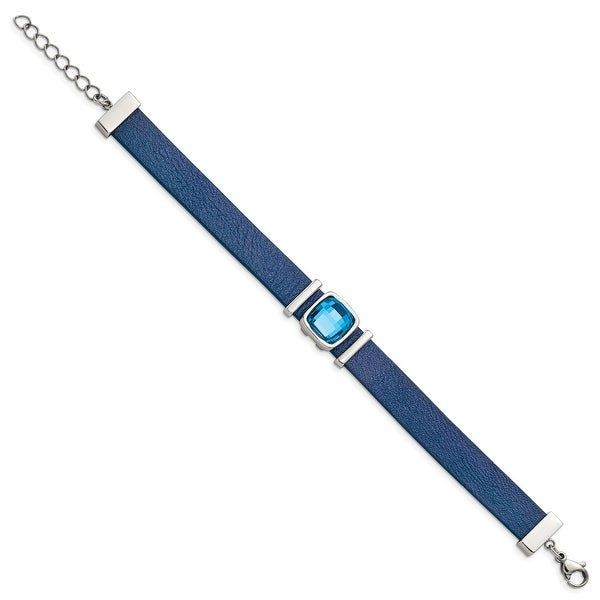 Chisel Stainless Steel Polished Blue Leather and Crystal with 1.25 Inch Extension 7 Inch Bracelet. Opens flyout.