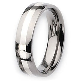 Chisel Sterling Silver Inlaid Polished Titanium Ring (6.0 mm)