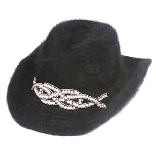 Womens Fashion Cowboy Hat w/ Jeweled Crest
