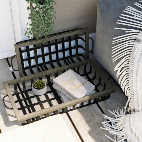 COSIEST Metal & Wood Decorative Fruit Baskets, Storage Trays, Pantry Tray, Display Basket Set of 2